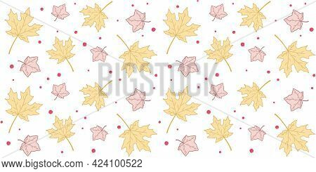 Yellow And Pink Maple Leaves On A White Background With Small Red Circles. Endless Texture With Autu