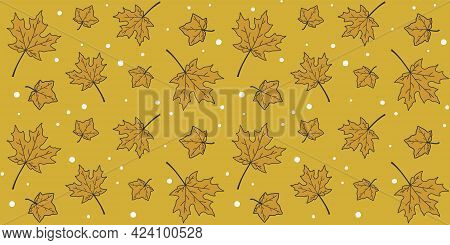 Golden Maple Leaves On A Gold Background With Small White Circles. Endless Texture With Autumn Leave