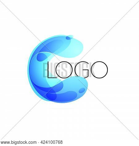 Sphere Logo Made Of Twisted Blue Waves. Ecology Template For Your Emblem, Watercolor Identity, Creat