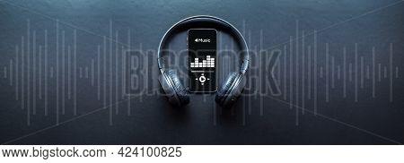 Music Audio Equipment. Audio Beats, Sound Headphones, Music Application On Mobile Smartphone Screen.