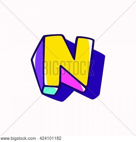 Letter N Logo In Cubic Children Style Based On Impossible Isometric Shapes. Perfect For Kids Labels,