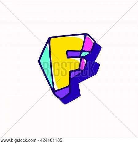 Letter F Logo In Cubic Children Style Based On Impossible Isometric Shapes. Perfect For Kids Labels,