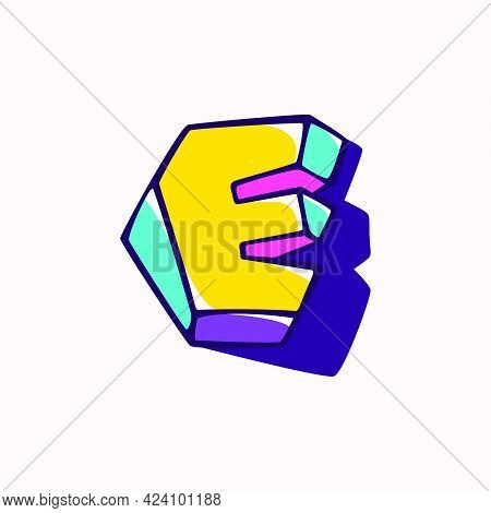 Letter E Logo In Cubic Children Style Based On Impossible Isometric Shapes. Perfect For Kids Labels,