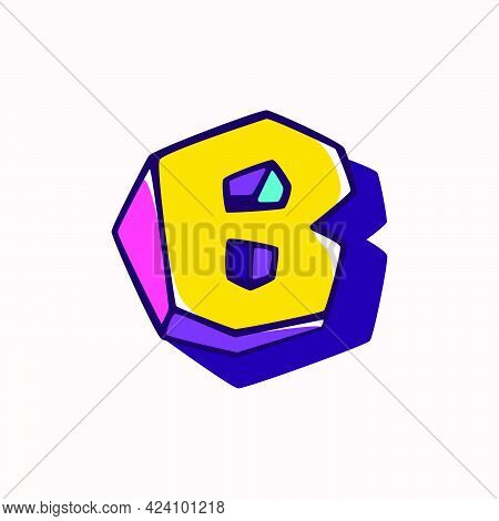 Letter B Logo In Cubic Children Style Based On Impossible Isometric Shapes. Perfect For Kids Labels,