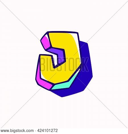 Letter J Logo In Cubic Children Style Based On Impossible Isometric Shapes. Perfect For Kids Labels,