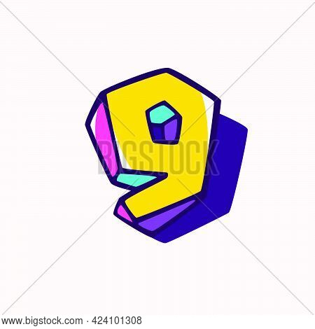 Number Nine Logo In Cubic Children Style Based On Impossible Isometric Shapes. Perfect For Kids Labe