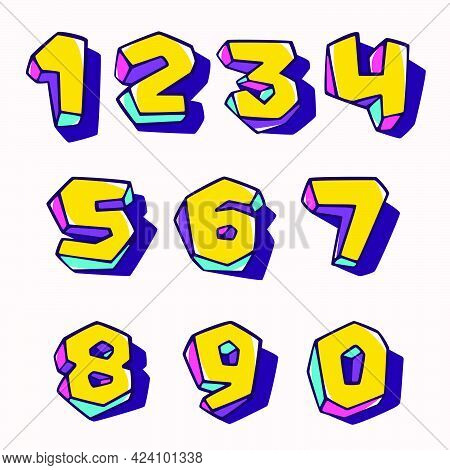 Numbers Set In Cubic Children Style Based On Impossible Isometric Shapes. Perfect For Kids Labels, I