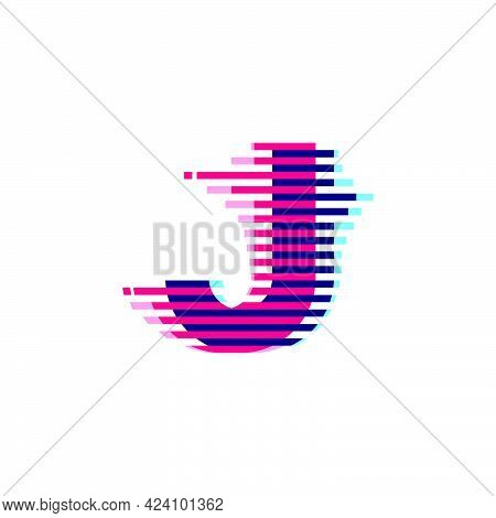 J Letter Logo With Vibrant Line Glitch Effect. Vector Font Perfect To Use In Your Nightlife Labels,