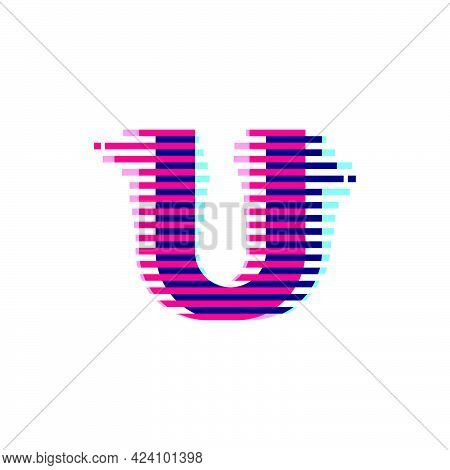 U Letter Logo With Vibrant Line Glitch Effect. Vector Font Perfect To Use In Your Nightlife Labels,