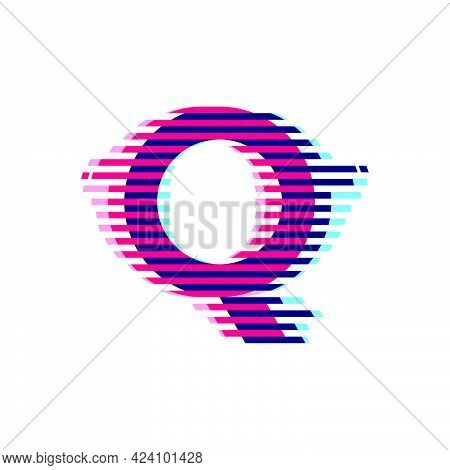 Q Letter Logo With Vibrant Line Glitch Effect. Vector Font Perfect To Use In Your Nightlife Labels,