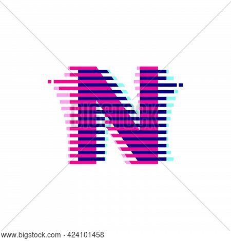 N Letter Logo With Vibrant Line Glitch Effect. Vector Font Perfect To Use In Your Nightlife Labels,