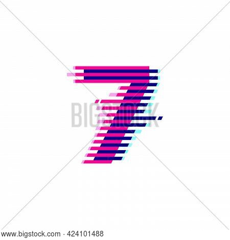 Number Seven Logo With Vibrant Line Glitch Effect. Vector Font Perfect To Use In Your Nightlife Labe