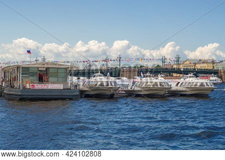 Saint Petersburg, Russia - July 30, 2017: Motor Ships