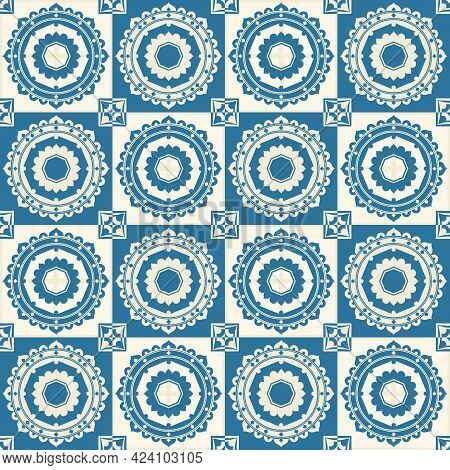 Gorgeous Seamless Pattern From Dark Blue And White Moroccan, Portuguese Tiles, Azulejo, Ornaments. C