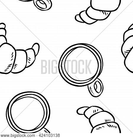 Tasty Croissant And Coffee Cups Breakfast Doodles Seamless Border Pattern. Cute Cartoon Brunch Pastr