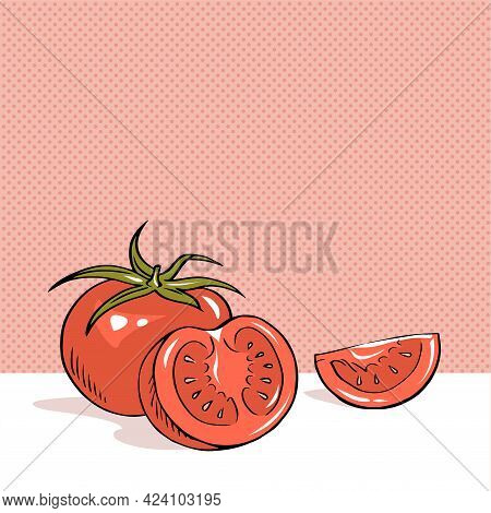 Hand Drawn Outline Vector Illustration Of Red Appetizing Tomato Vegetables On Red Background. Health