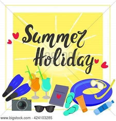 Summer Holiday Banner, Vector. Illustration With The Attributes Of A Summer Holiday Sunscreen, Camer