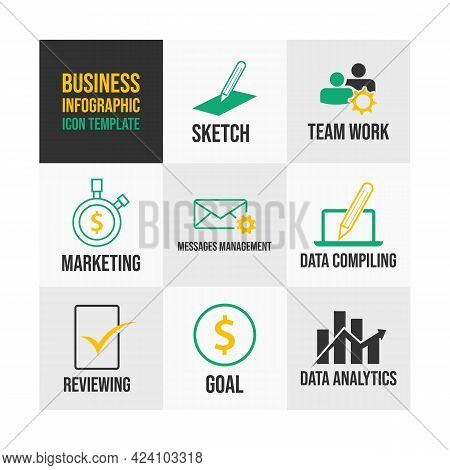 Business And Finance Flat Icons Concept. Business Infographics Template Design. Vector Business Fina