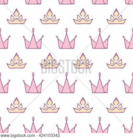 Cute Pastel Doodle Crowns And Diadems. Horizintal Seamless Pattern. Hand Drawn Girly Repeat Backgrou
