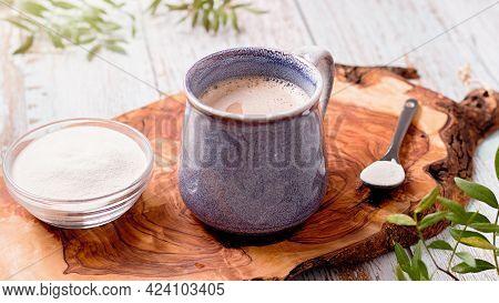 Mug With Coffee And Collagen Powder, Beauty Collagen Supplement, Additional Collagen Intake