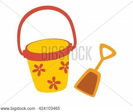 Toy Bucket With A Dustpan. Beach Games. Summer Vacation.  Set Of Buckets And Dustpan For Playing In