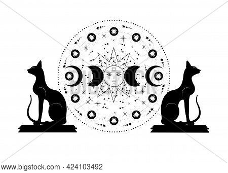 Triple Moon And Black Cats, Pagan Wiccan Goddess Symbol, Sun System, Moon Phases, Orbits Of Planets,