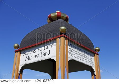 Umea, Norrland Sweden - May 12, 2021: A Memorial From The King After The Road With The Text: The Wel