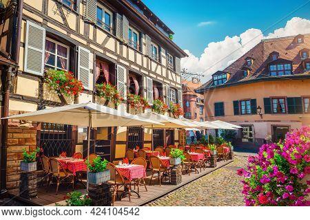 Cafe Of Strasbourg In The Morning, France