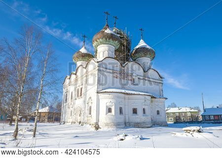 Ancient Church Of The Resurrection Of Christ On A Sunny February Day. Kargopol, Russia