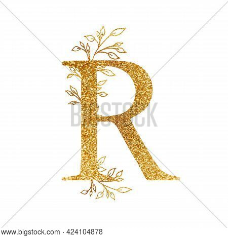 Gold Branch And Alphabet - Letter R With Gold Twigs Composition.gold Alphabet Letter On White Backgr