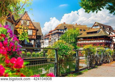 Picturesque District Petite France In Strasbourg, Houses On River
