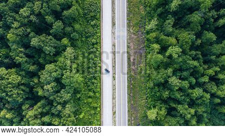 Tot Aerial View Of The Autobahn With Forest