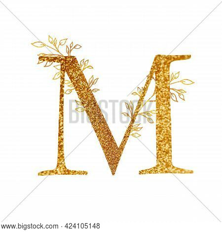 Gold Branch And Alphabet - Letter M With Gold Twigs Composition.gold Alphabet Letter On White Backgr