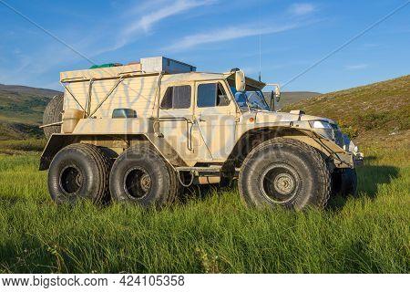 Yamal, Russia - August 22, 2018: All-terrain Vehicle Trekol Close-up In The Yamal Tundra