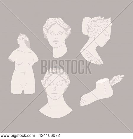 Various Antique Statues. Mythical, Ancient Greek Style. Hand Drawn Vector Illustration. Classic Stat