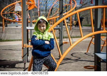 Funny Cute Happy Child Boy Playing On The Playground. The Emotion Of Happiness, Fun, Joy. Smile Of A