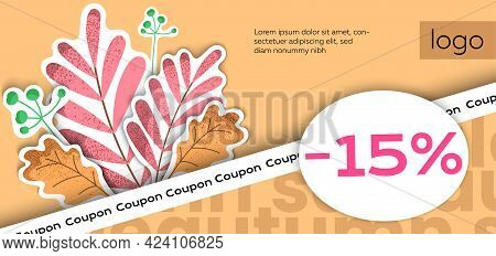 Autumn Sale, Autumn Season. Gift Voucher, Coupon. Design Template For Sale With An Illustration Of A