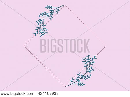 Composition of foliage sprigs frame design with central copy space and pink background. invitation or greetings card design template concept with copy space, digitally generated image.
