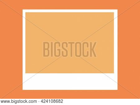 Composition of white frame design with central sand copy space on orange background. invitation or greetings card design template concept with copy space, digitally generated image.