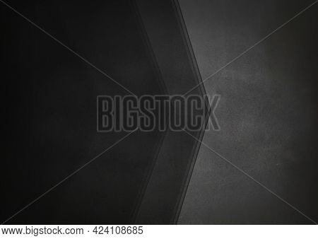 Composition of black copy space with dark grey chevron on mid grey background. design template background concept digitally generated image.