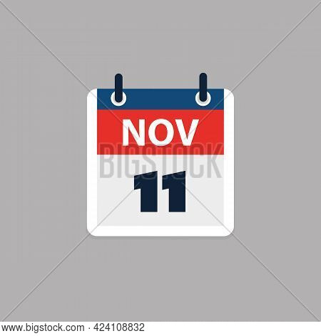Calendar Page Design For Day November 11th, Usa Veterans Day  - Vector Illustration