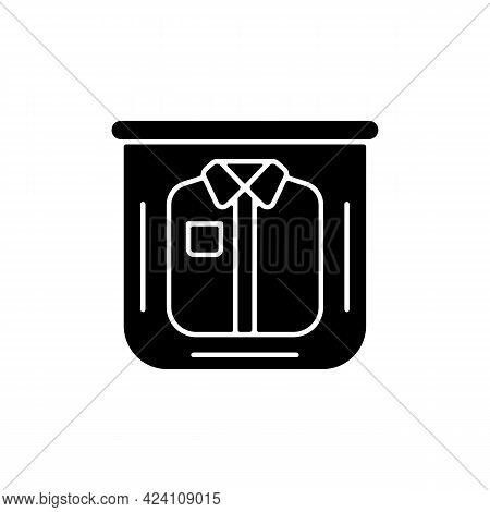 Clothing In Plastic Bag Black Glyph Icon. Clear Compress Wrap For Garment Packing. Essential Things