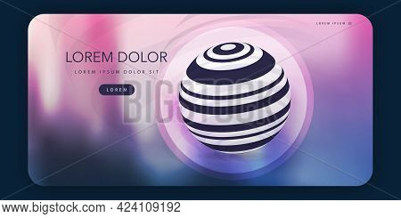 Modern Style Web Design Elements - Header Or Banner Design With Striped Transparent Globe And Blurre