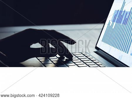 Composition of hand on laptop keyboard with graph information interface on screen. global business, communication and digital interface concept digitally generated image.