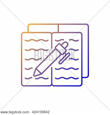 Homework Gradient Linear Vector Icon. Textbook With Text And Pen For Writing. Notebook With School R