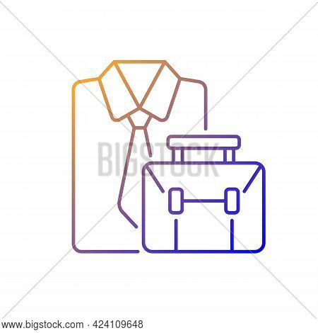Formal Clothing And Briefcase Gradient Linear Vector Icon. Professional Worker Outfit And Bag. Emplo