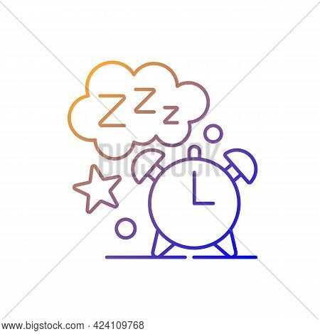 Sleep Time Gradient Linear Vector Icon. Alarm Clock. Watch Dial With Nighttime. Countdown To Morning