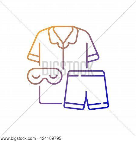 Pajamas Gradient Linear Vector Icon. Unisex Pyjamas And Eyewear. Pants And Shirt For Sleep. Everyday