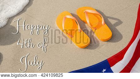 Composition of happy 4th of july text over american flag, flip flops on beach and sea. united states of america celebration, holiday, patriotism and independence concept digitally generated image.