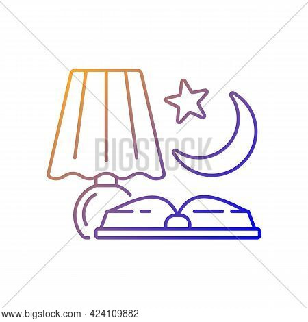 Evening Reading Gradient Linear Vector Icon. Late Nighttime Studying. Fairytale Books To Read Before